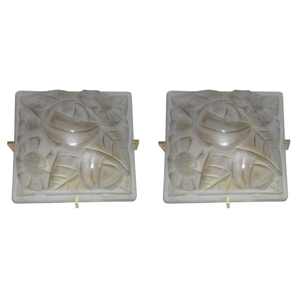 French Art Deco Wall Sconces : Pair of French Art Deco Wall Sconces by Degue at 1stdibs