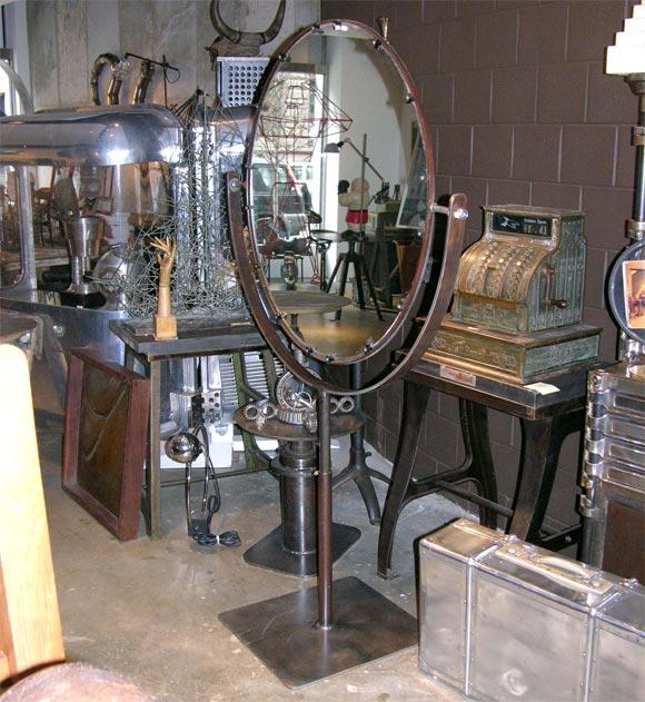 Massive Round Standing Floor Mirror At 1stdibs