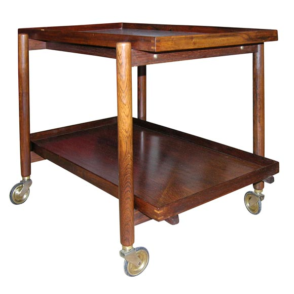 Danish Rosewood Serving Trolley by Poul Hundevad