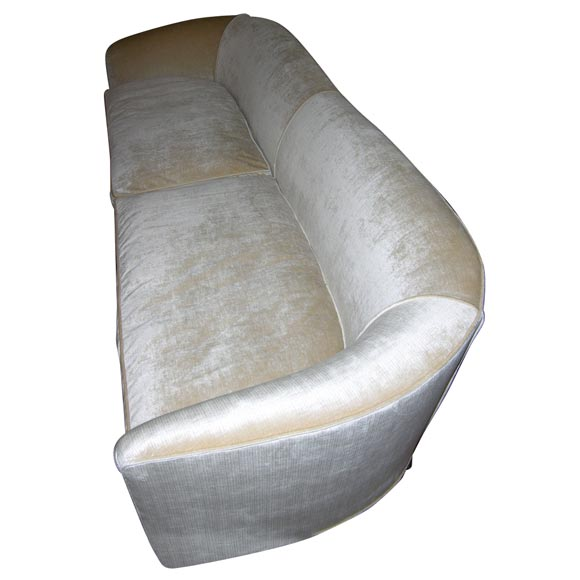 Graceful Curved Back Sofa In A Champagne Silk Velvet At