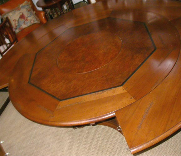 french cherry round dining table with build in lazy susan at 1stdibs