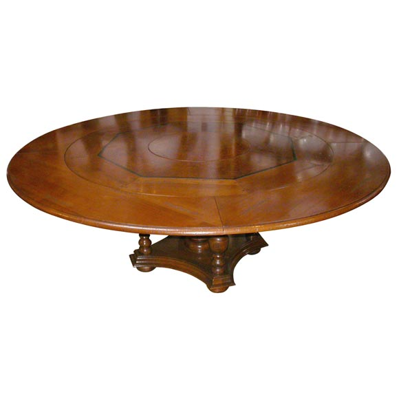 this french cherry round dining table with build in lazy susan is no