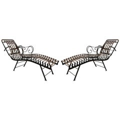 Pair of 1910's Iron Chaises Lounges