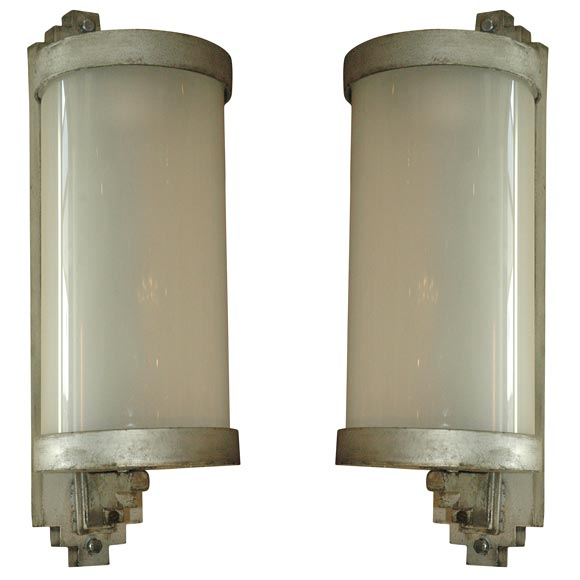 Art deco exterior lamps steel and glass at 1stdibs for Art deco exterior lighting fixtures