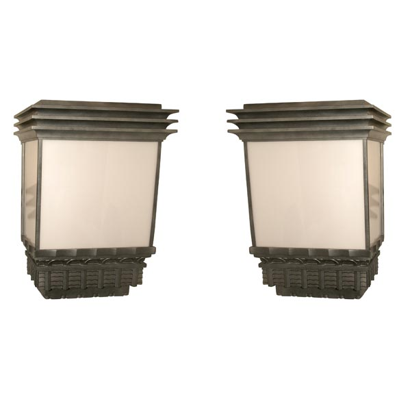 Monumental Original Exterior Art Deco Sconces For Sale at 1stdibs
