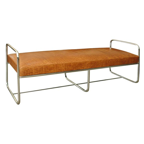 Large Art Deco Bench Chrome And Faux Alligator Luggage Leather At 1stdibs
