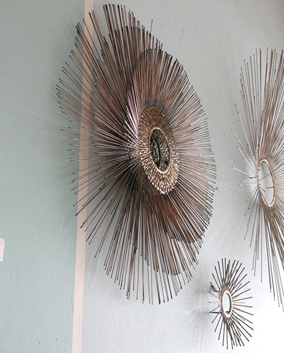 Triple Sunburst Metal Wall Sculpture At 1stdibs