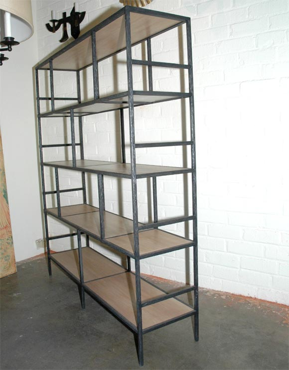 Paul Marra Iron Faux  Bois Bookcase 8