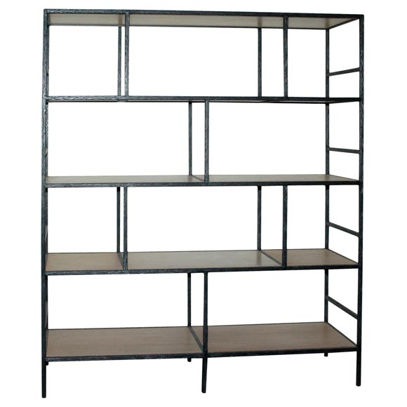 Paul Marra Iron Faux  Bois Bookcase 1