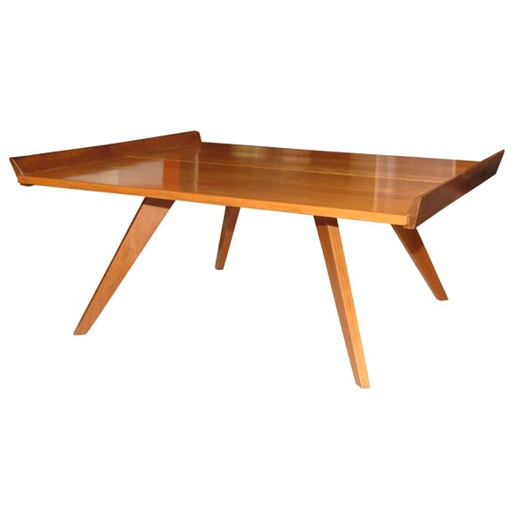 Birch Coffee Table W Raised Walnut Edge By George Nakashima At 1stdibs