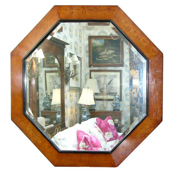Octagonal framed beveled mirror at 1stdibs for Octagon beveled mirror
