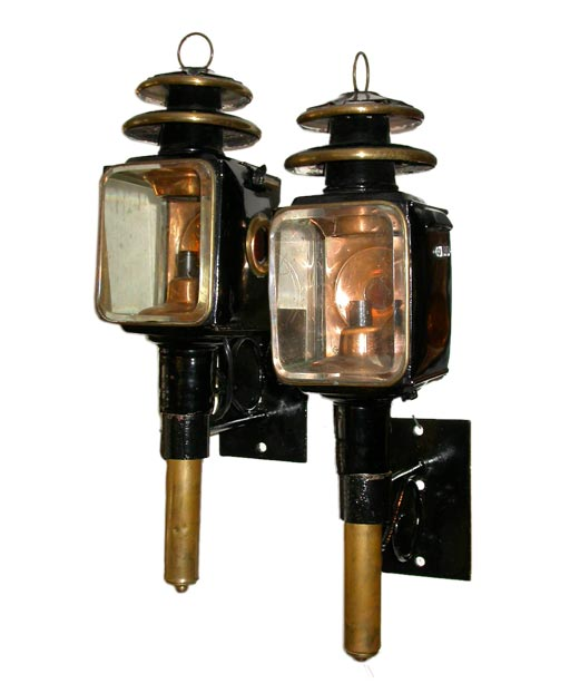 Pair Of Copper And Brass Carriage Lamps At 1stdibs