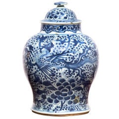 Qing Period Blue and White Porcelain Temple Jar