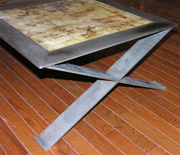 French Stainless Steel Frame Coffee Table with Ceramic Inset For Sale