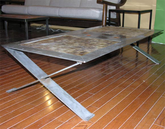 Mid-20th Century Stainless Steel Frame Coffee Table with Ceramic Inset For Sale
