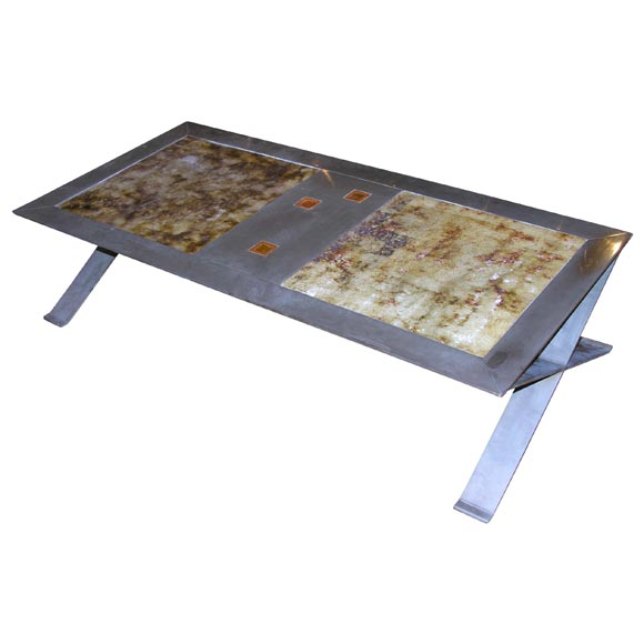 Stainless Steel Frame Coffee Table With Ceramic Inset For