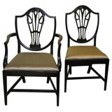 Set of 12 Hepplewhite Shield Back Dining Chairs