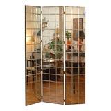 Three Panel Etched Mirror Floor Screen