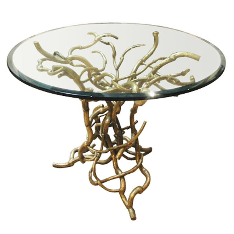 Candace Barnes Now Hand-Forged Bronze Napa Branch Table in Gold Leaf For Sale