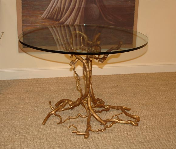 Gilt Candace Barnes Now Hand-Forged Bronze Napa Branch Table in Gold Leaf For Sale