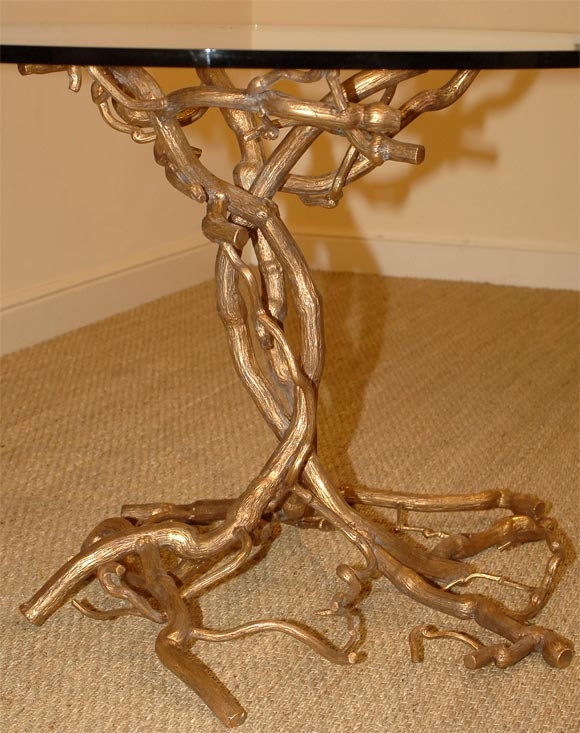 Candace Barnes Now Hand-Forged Bronze Napa Branch Table in Gold Leaf For Sale 1