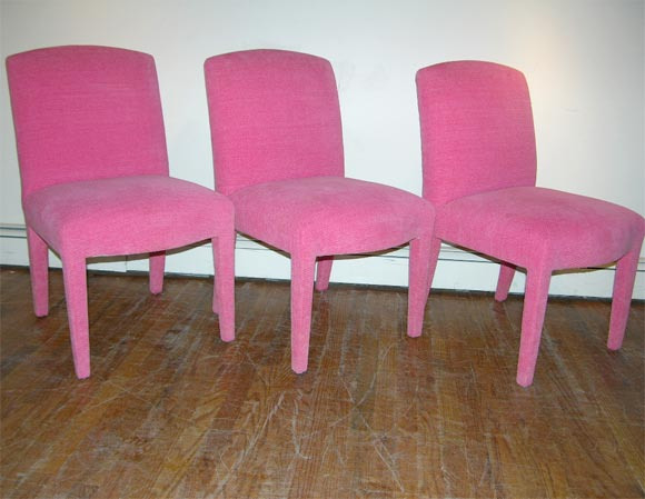 SIX DINING CHAIRS FULLY UPHOLSTERED IN HOT PINK CHENILLE FABRIC. at ...