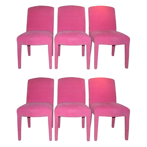 Six Dining Chairs Fully Upholstered In Hot Pink Chenille Fabric For