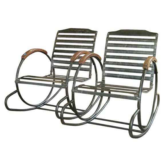 French Deco Metal Rocking Chairs At 1stdibs
