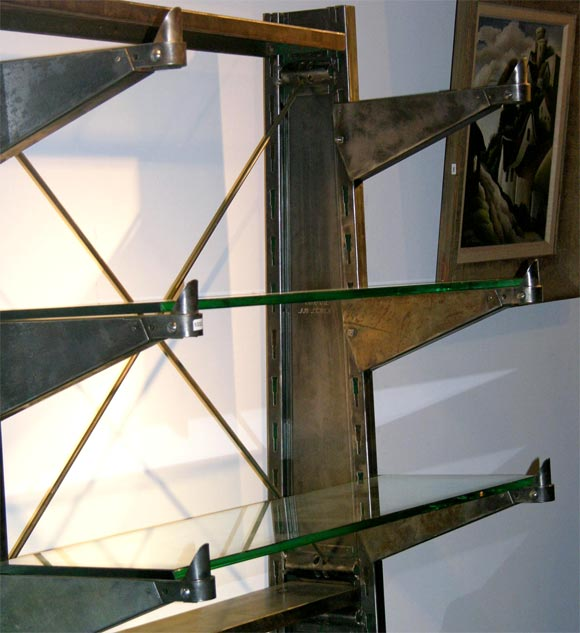 Polished Steel Industrial shelving unit w/glass shelving For Sale 2
