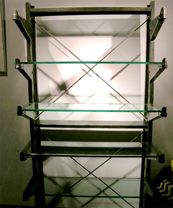 Polished Steel Industrial shelving unit w/glass shelving For Sale 3