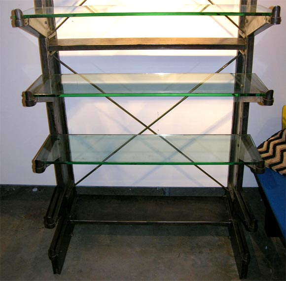 Polished Steel Industrial shelving unit w/glass shelving For Sale 4