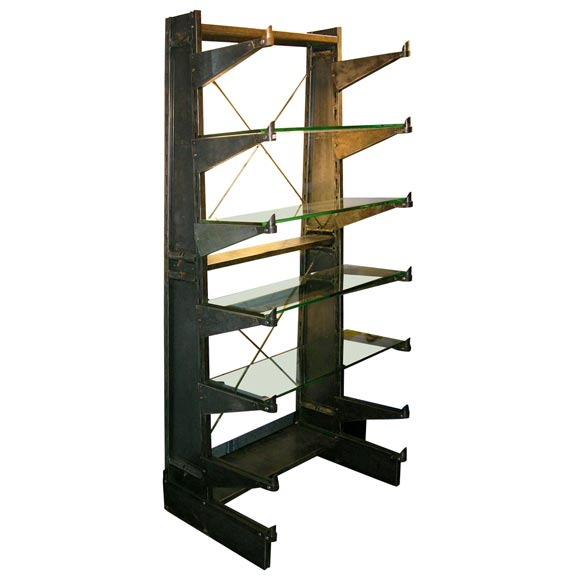 Polished Steel Industrial shelving unit w/glass shelving For Sale