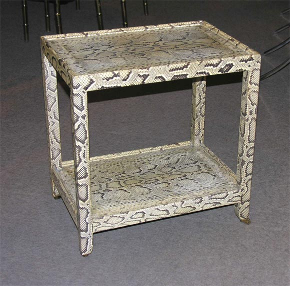 Side table covered in natural python by karl springer at for Table in python