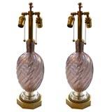 Pair of 1940's Purple Murano Glass Lamps