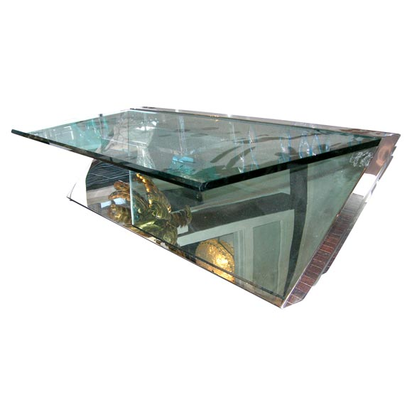 Asymmetrical Stainless Steel And Glass Coffee Table At 1stdibs