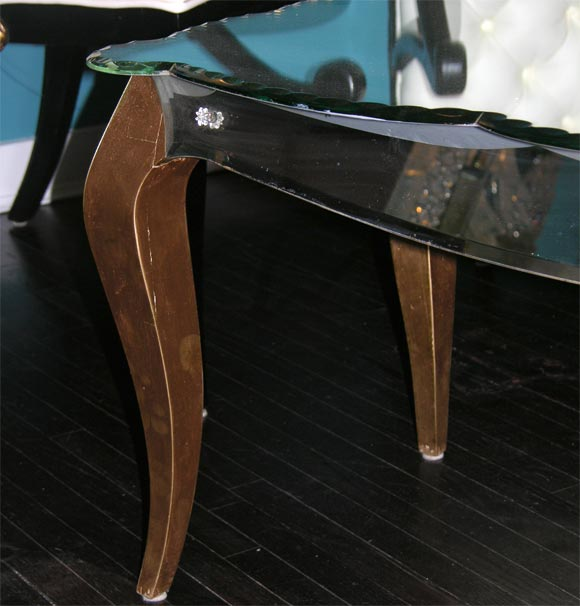 single custom mirrored coffee table with gold tone legs at 1stdibs. Black Bedroom Furniture Sets. Home Design Ideas
