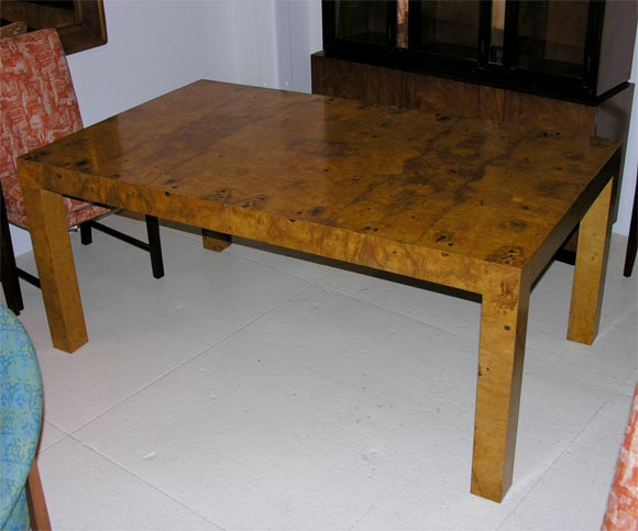 milo baughman for thayer coggin olive ash burl dining table at 1stdibs. Black Bedroom Furniture Sets. Home Design Ideas