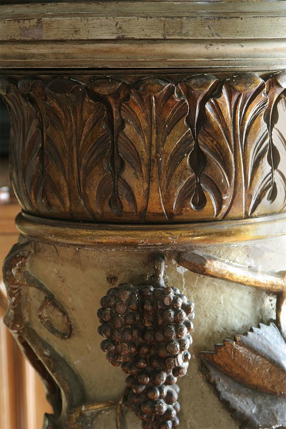 Baroque Pair of Italian Paint and Parcel-Gilt Columns For Sale
