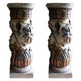 Pair of Italian Paint and Parcel-Gilt Columns