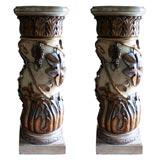 Pair of Italian Paint and Parcel-Gilt Columns