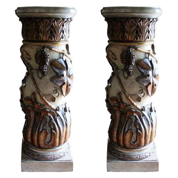 Pair of Italian Paint and Parcel-Gilt Columns For Sale