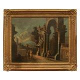 Italian Oil On Canvas Of Ruins