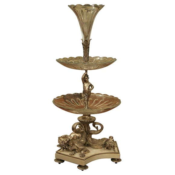 Magnificent Silver Plated Bronze, Crystal and Marble Epergne
