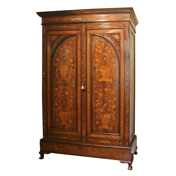 18th Century Dutch Marquetry Kast Or Armoire