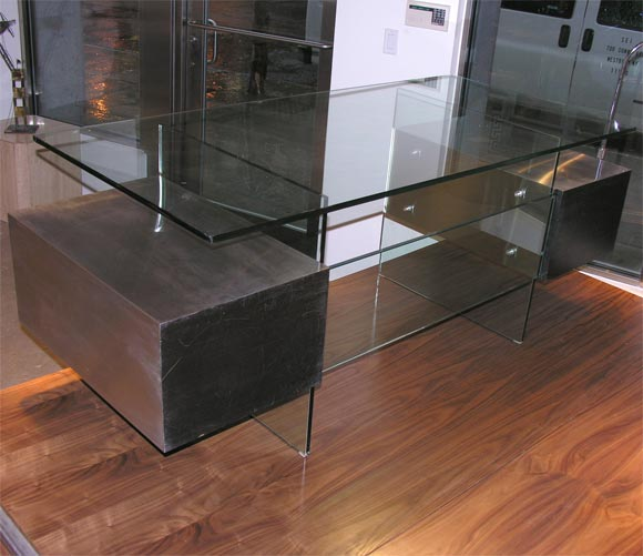 Modern Xavier Marbeau 1970s Aluminum and Glass Desk For Sale