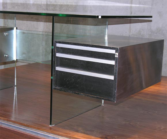 French Xavier Marbeau 1970s Aluminum and Glass Desk For Sale