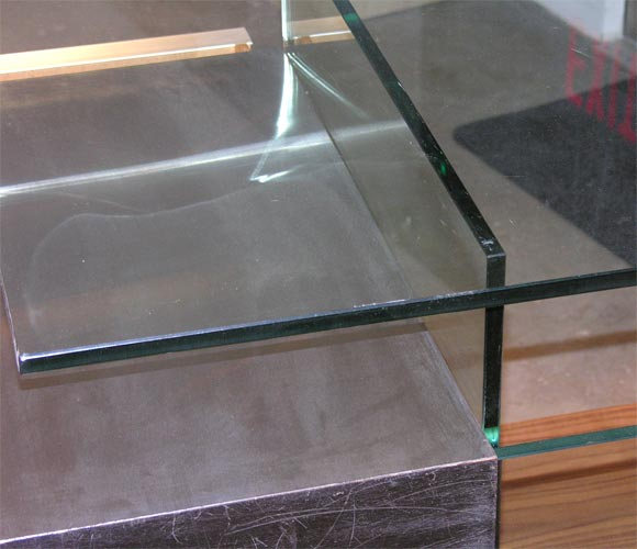 Xavier Marbeau 1970s Aluminum and Glass Desk For Sale 1