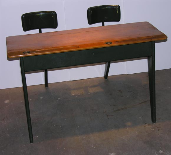 prouve child's school desk in wood and metal in original green finish.