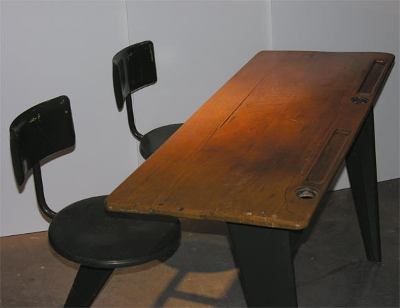 Wood Jean Prouve Desk For Sale