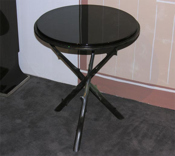 Round bronze tripod side table at 1stdibs for Table 52 oak brook